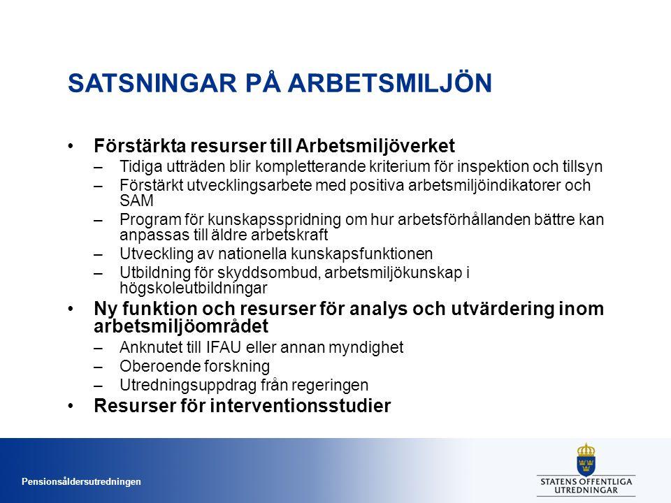 Pensionsåldersutredningen SATSNINGAR PÅ ARBETSMILJÖN •Förstärkta resurser till Arbetsmiljöverket –Tidiga utträden blir kompletterande kriterium för inspektion och tillsyn –Förstärkt utvecklingsarbete med positiva arbetsmiljöindikatorer och SAM –Program för kunskapsspridning om hur arbetsförhållanden bättre kan anpassas till äldre arbetskraft –Utveckling av nationella kunskapsfunktionen –Utbildning för skyddsombud, arbetsmiljökunskap i högskoleutbildningar •Ny funktion och resurser för analys och utvärdering inom arbetsmiljöområdet –Anknutet till IFAU eller annan myndighet –Oberoende forskning –Utredningsuppdrag från regeringen •Resurser för interventionsstudier
