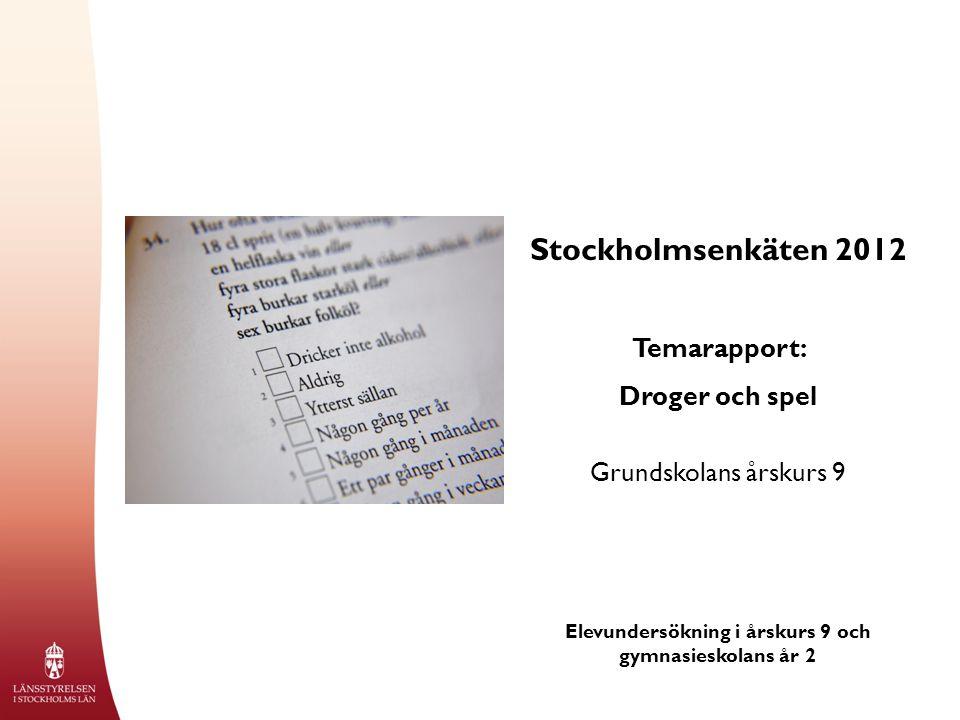 Stockholmsenkäten 2012 Temarapport: Droger och spel Grundskolans årskurs 9 Elevundersökning i årskurs 9 och gymnasieskolans år 2