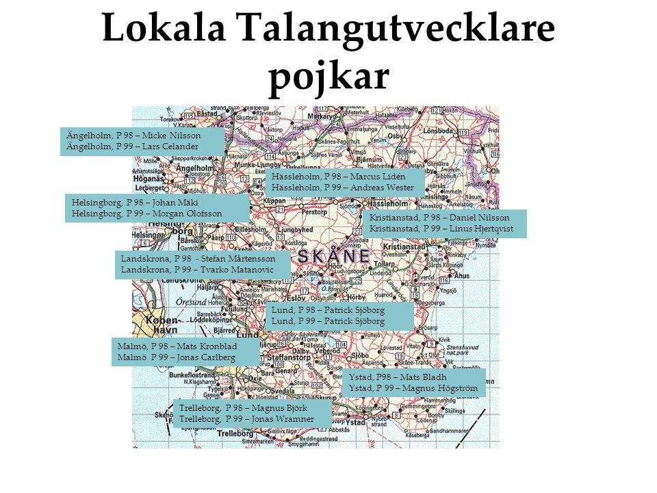 Lokala Talangutvecklare pojkar Lund, P 98 – Patrick Sjöborg Lund, P 99 – Patrick Sjöborg Ängelholm, P 98 – Micke Nilsson Ängelholm, P 99 – Lars Celander Helsingborg, P 98 – Johan Mäki Helsingborg, P 99 – Morgan Olofsson Malmö, P 98 – Mats Kronblad Malmö P 99 – Jonas Carlberg Landskrona, P 98 - Stefan Mårtensson Landskrona, P 99 – Tvarko Matanovic Ystad, P98 – Mats Bladh Ystad, P 99 – Magnus Högström Trelleborg, P 98 – Magnus Björk Trelleborg, P 99 – Jonas Wramner Kristianstad, P 98 – Daniel Nilsson Kristianstad, P 99 – Linus Hjertqvist Hässleholm, P 98 – Marcus Lidén Hässleholm, P 99 – Andreas Wester