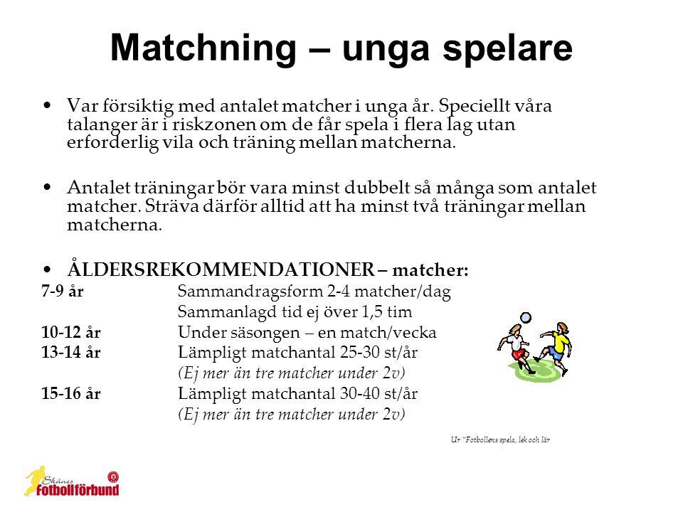 Matchning – unga spelare •Var försiktig med antalet matcher i unga år.