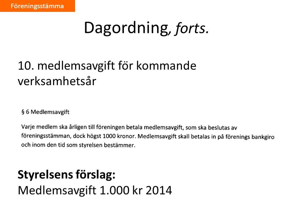Dagordning, forts.10.