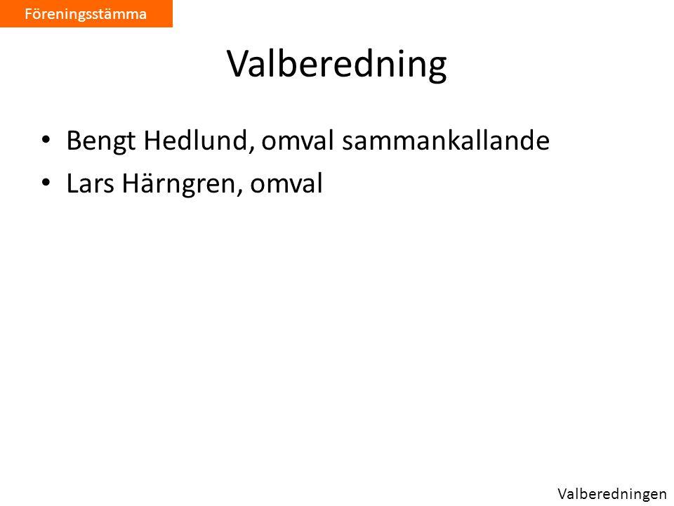 Valberedning • Bengt Hedlund, omval sammankallande • Lars Härngren, omval Föreningsstämma Valberedningen
