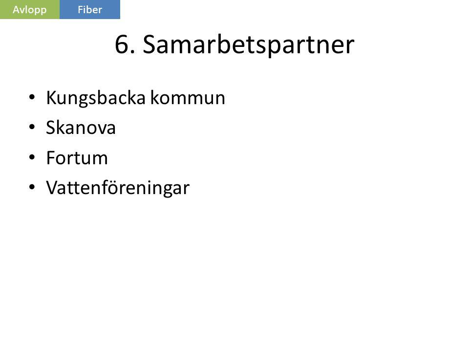 6. Samarbetspartner • Kungsbacka kommun • Skanova • Fortum • Vattenföreningar AvloppFiber
