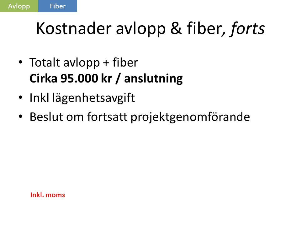 Kostnader avlopp & fiber, forts • Totalt avlopp + fiber Cirka 95.000 kr / anslutning • Inkl lägenhetsavgift • Beslut om fortsatt projektgenomförande Inkl.