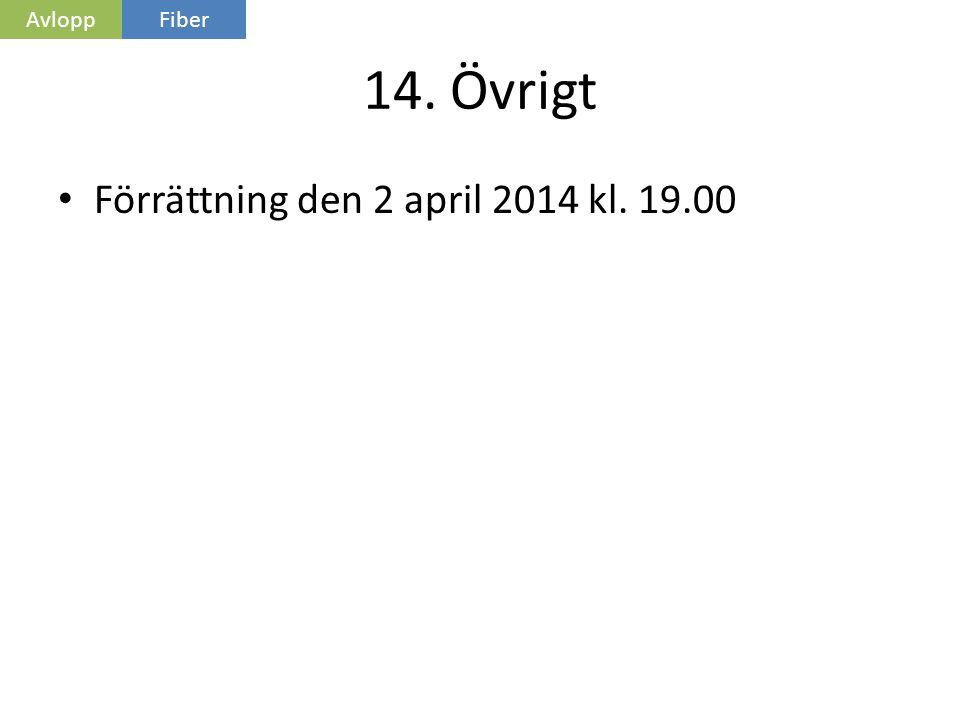 14. Övrigt • Förrättning den 2 april 2014 kl. 19.00 AvloppFiber