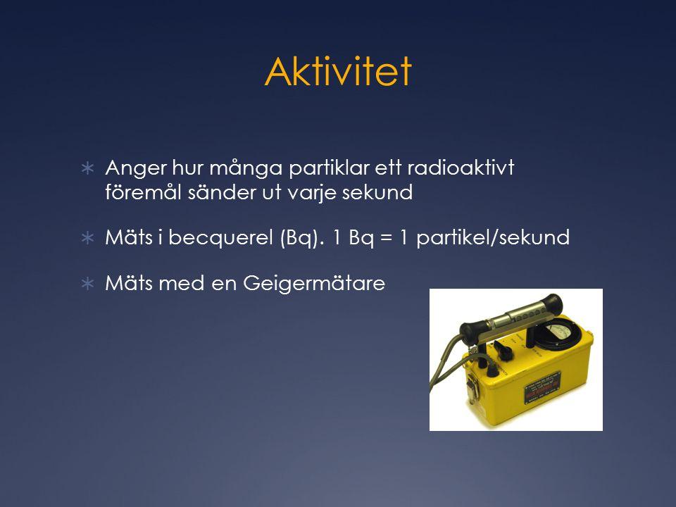Aktivitet  Anger hur många partiklar ett radioaktivt föremål sänder ut varje sekund  Mäts i becquerel (Bq).