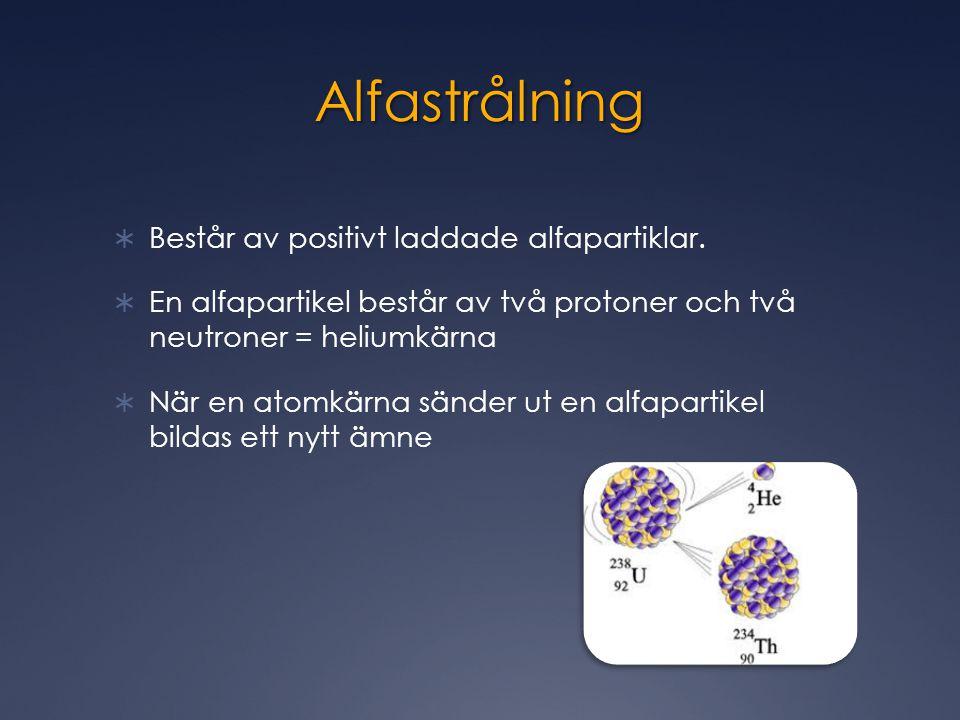 Alfastrålning  Består av positivt laddade alfapartiklar.