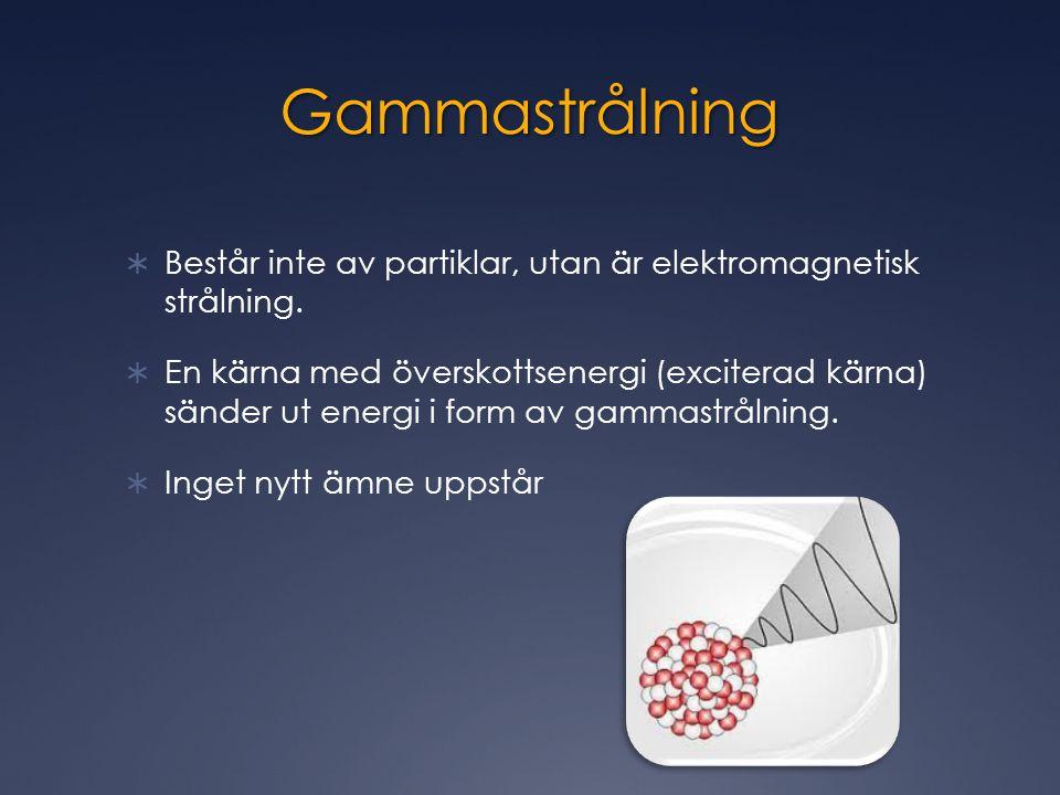 Gammastrålning  Består inte av partiklar, utan är elektromagnetisk strålning.