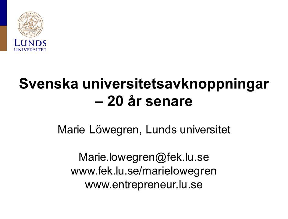 Svenska universitetsavknoppningar – 20 år senare Marie Löwegren, Lunds universitet Marie.lowegren@fek.lu.se www.fek.lu.se/marielowegren www.entreprene