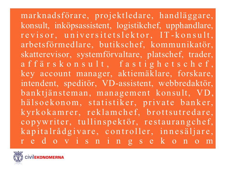 marknadsförare, projektledare, handläggare, konsult, inköpsassistent, logistikchef, upphandlare, revisor, universitetslektor, IT-konsult, arbetsförmed
