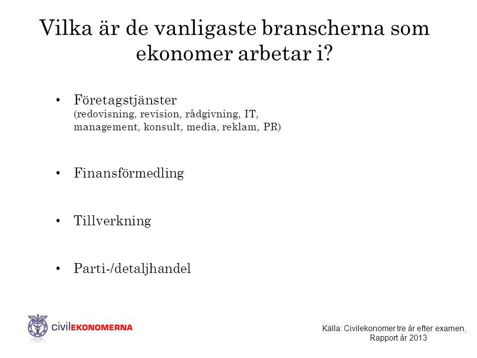 Vilka är de vanligaste branscherna som ekonomer arbetar i? • Företagstjänster (redovisning, revision, rådgivning, IT, management, konsult, media, rekl