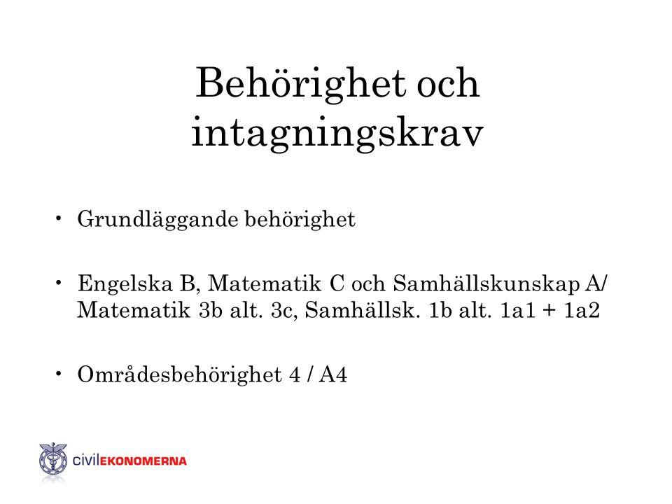 Behörighet och intagningskrav •Grundläggande behörighet •Engelska B, Matematik C och Samhällskunskap A/ Matematik 3b alt. 3c, Samhällsk. 1b alt. 1a1 +