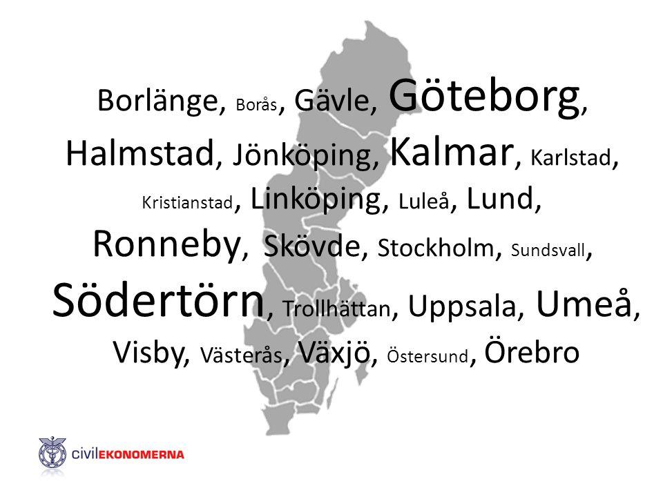 Borlänge, Borås, Gävle, Göteborg, Halmstad, Jönköping, Kalmar, Karlstad, Kristianstad, Linköping, Luleå, Lund, Ronneby, Skövde, Stockholm, Sundsvall,