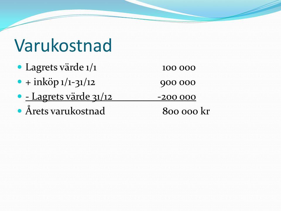 Varukostnad  Lagrets värde 1/1 100 000  + inköp 1/1-31/12 900 000  - Lagrets värde 31/12-200 000  Årets varukostnad 800 000 kr