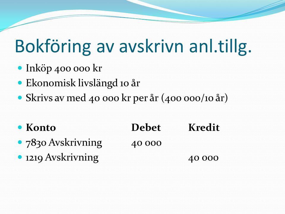 Bokföring av avskrivn anl.tillg.  Inköp 400 000 kr  Ekonomisk livslängd 10 år  Skrivs av med 40 000 kr per år (400 000/10 år)  KontoDebetKredit 