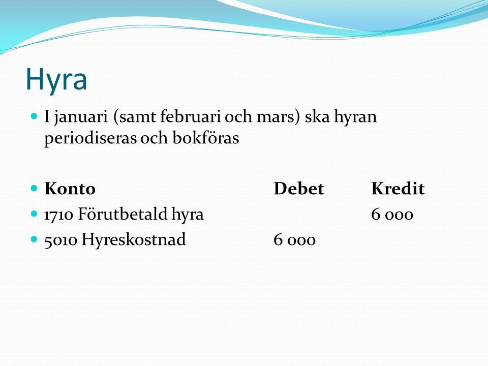 Hyra  I januari (samt februari och mars) ska hyran periodiseras och bokföras  KontoDebetKredit  1710 Förutbetald hyra6 000  5010 Hyreskostnad 6 00