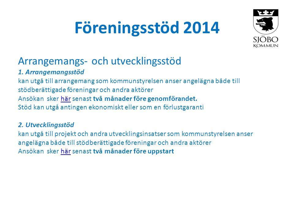 Föreningsstöd 2014 Arrangemangs- och utvecklingsstöd 1.