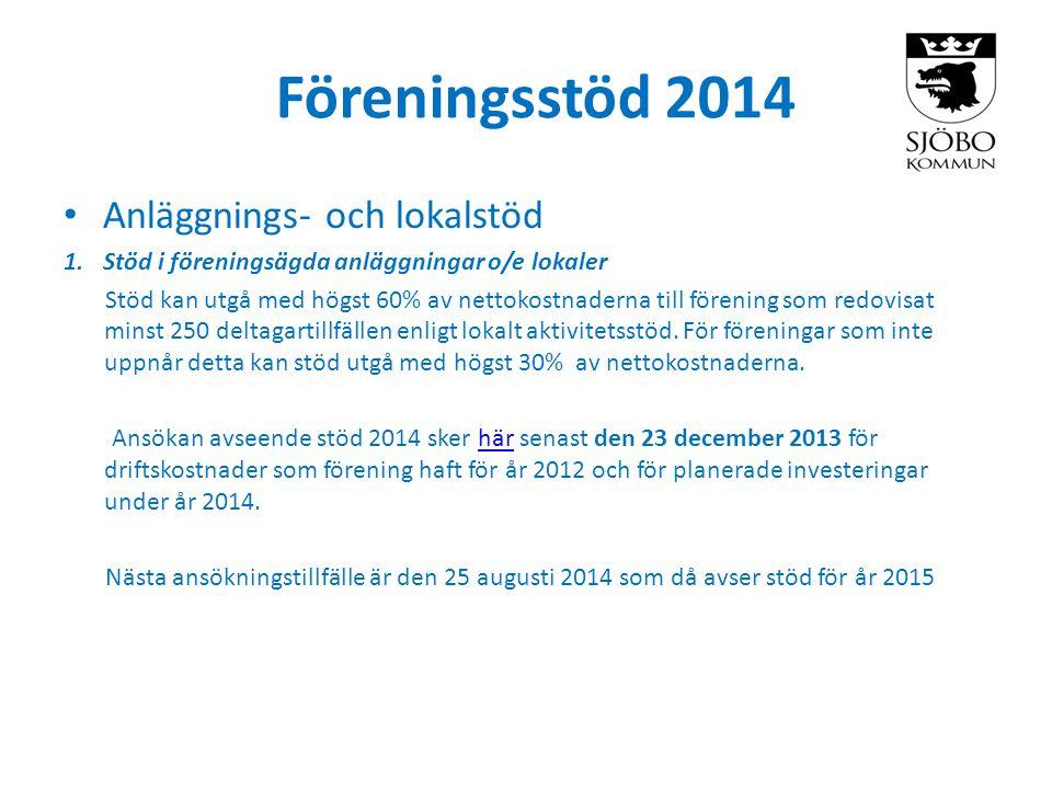 Föreningsstöd 2014 • Anläggnings- och lokalstöd 1.Stöd i föreningsägda anläggningar o/e lokaler Stöd kan utgå med högst 60% av nettokostnaderna till f