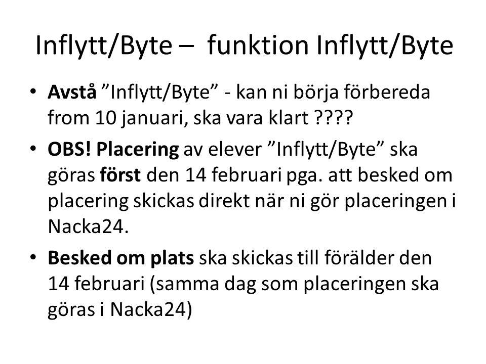 Inflytt/Byte – funktion Inflytt/Byte • Avstå Inflytt/Byte - kan ni börja förbereda from 10 januari, ska vara klart .
