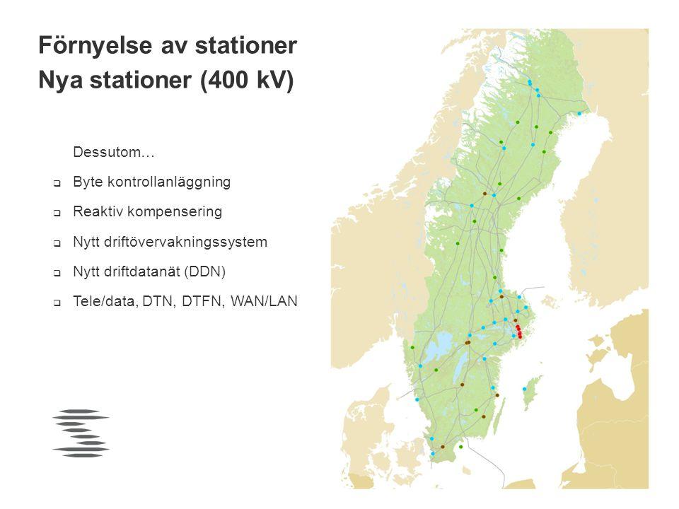 Pågår (9) Planerade (50) Stockholms Ström Vindkraft Förnyelse av stationer Nya stationer (400 kV) Dessutom…  Byte kontrollanläggning  Reaktiv kompen