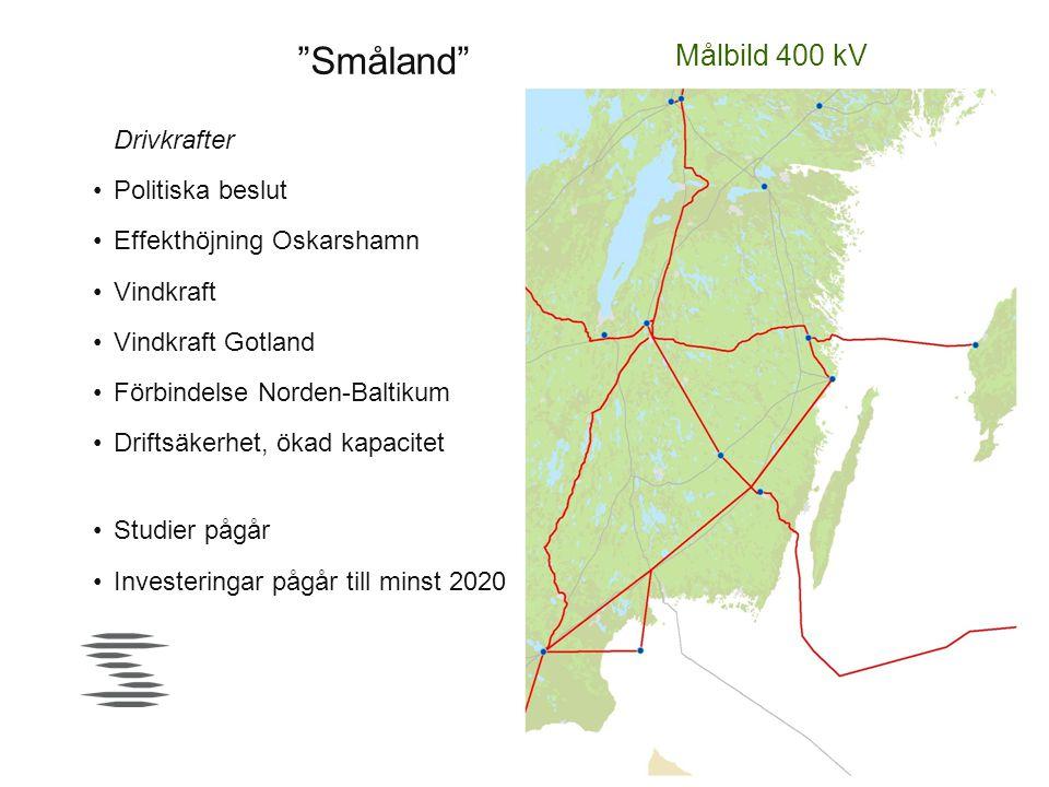 """""""Småland"""" Målbild 400 kV Drivkrafter •Politiska beslut •Effekthöjning Oskarshamn •Vindkraft •Vindkraft Gotland •Förbindelse Norden-Baltikum •Driftsäke"""