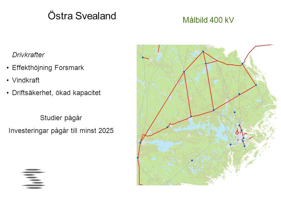 Östra Svealand Drivkrafter •Effekthöjning Forsmark •Vindkraft •Driftsäkerhet, ökad kapacitet Studier pågår Investeringar pågår till minst 2025 Målbild