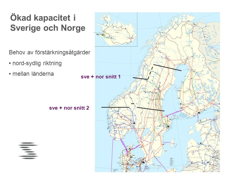 sve + nor snitt 2 sve + nor snitt 1 Ökad kapacitet i Sverige och Norge Behov av förstärkningsåtgärder • nord-sydlig riktning • mellan länderna