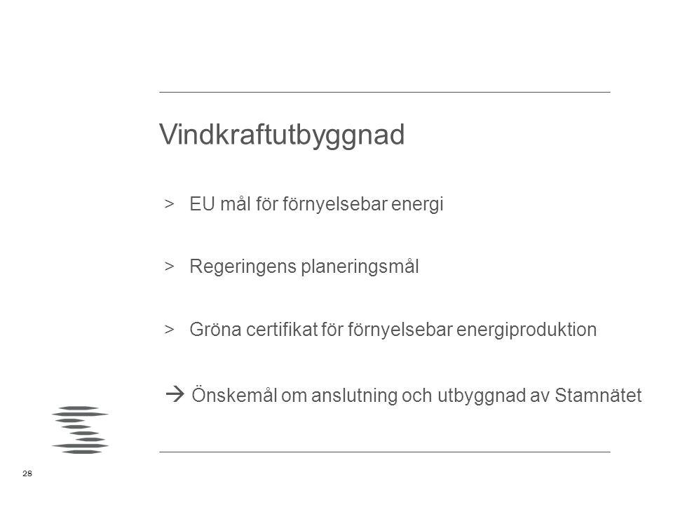 28 >EU mål för förnyelsebar energi >Regeringens planeringsmål >Gröna certifikat för förnyelsebar energiproduktion  Önskemål om anslutning och utbyggn