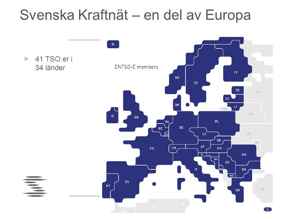 Svenska Kraftnät – en del av Europa >41 TSO:er i 34 länder