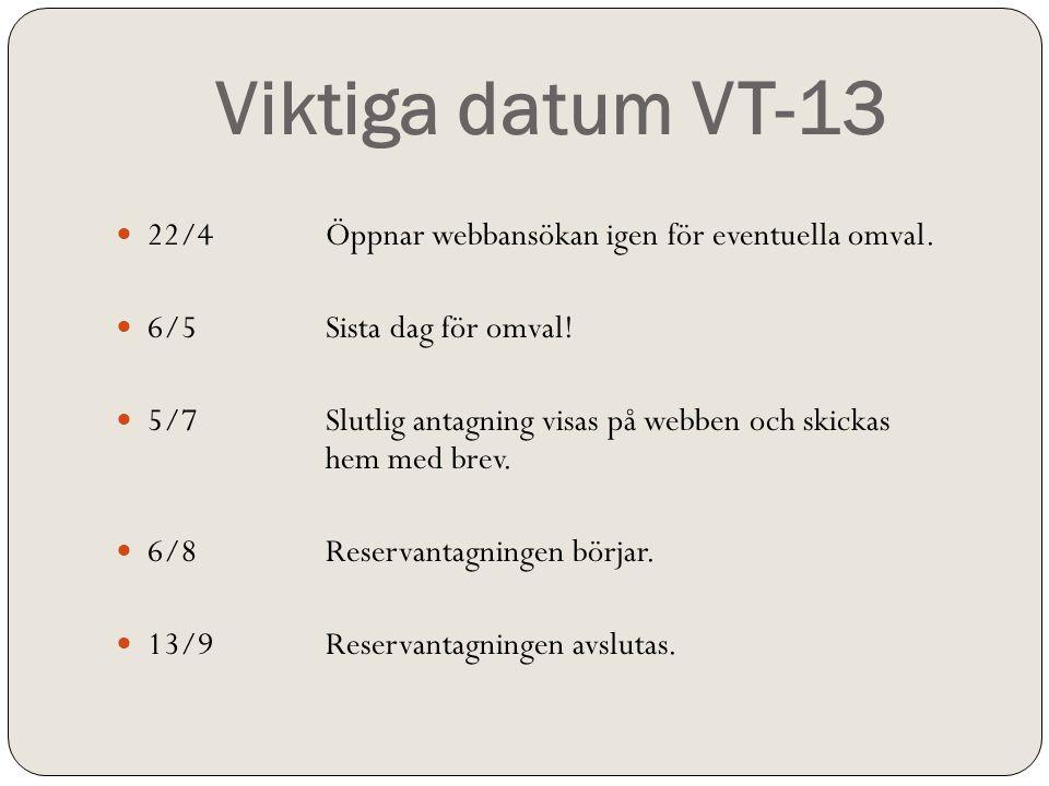 Viktiga datum VT-13  22/4Öppnar webbansökan igen för eventuella omval.  6/5Sista dag för omval!  5/7Slutlig antagning visas på webben och skickas h
