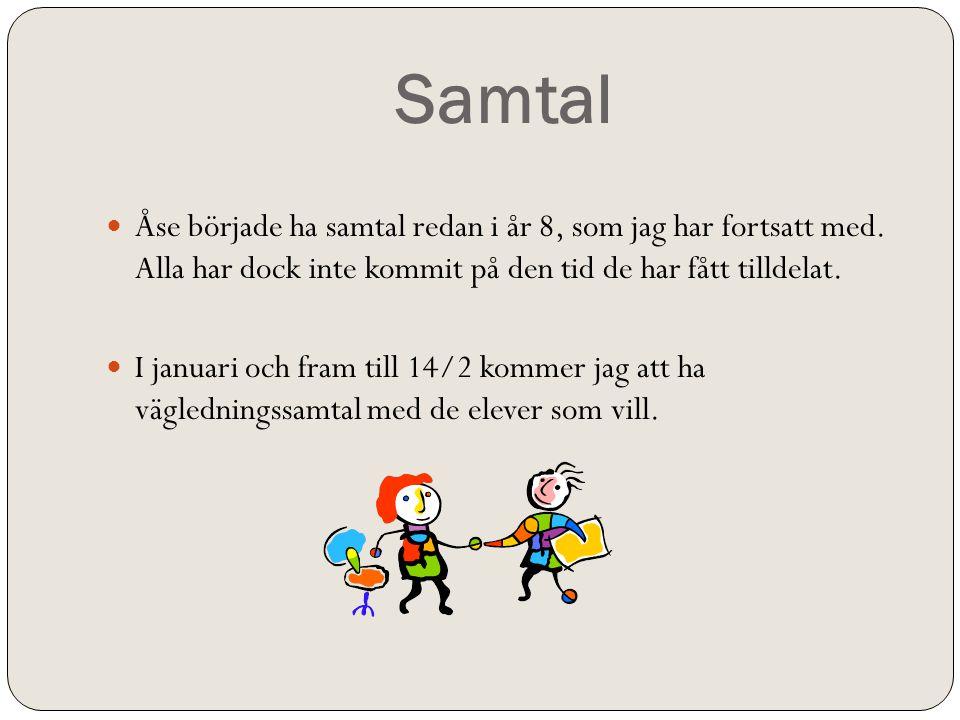 Samtal  Åse började ha samtal redan i år 8, som jag har fortsatt med.