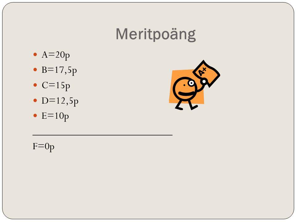 Meritpoäng  A=20p  B=17,5p  C=15p  D=12,5p  E=10p __________________________ F=0p