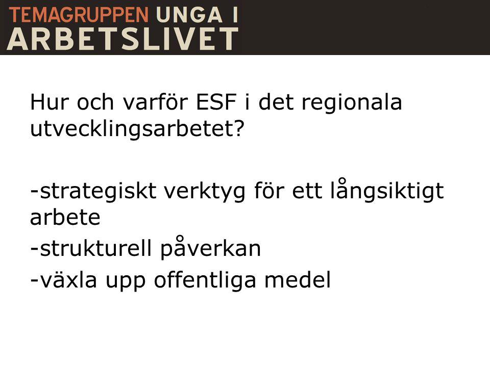 Hur och varför ESF i det regionala utvecklingsarbetet? -strategiskt verktyg för ett långsiktigt arbete -strukturell påverkan -växla upp offentliga med
