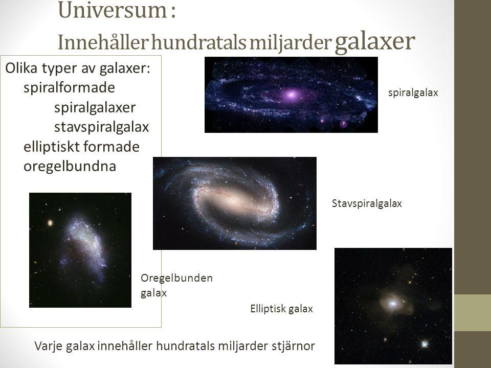 Vintergatan • Är en stavspiralgalax • Formad som en diskus med långa spiralarmar • Diametern är 100 000 ljusår • Tjockleken är 10 000 ljusår • Innehåller 200 miljarder stjärnor • Jorden 30 000 ljusår från galaxens centrum • Vintergatan roterar kring sitt eget centrum • Ett varv på 250 miljoner år = galaktiskt år • Granngalaxer: Stora och Lilla Magellanska molnen (dvärggalaxer), Andromedagalaxen 100´000 ljusår