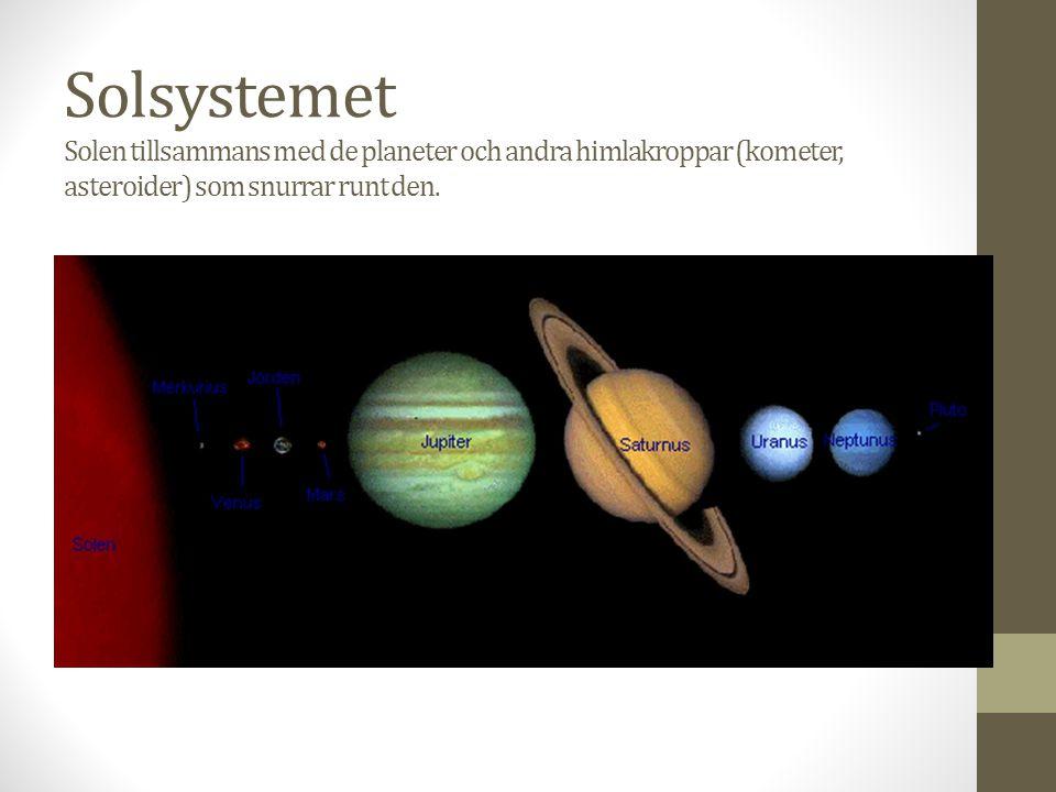 Solsystemet Solen tillsammans med de planeter och andra himlakroppar (kometer, asteroider) som snurrar runt den.
