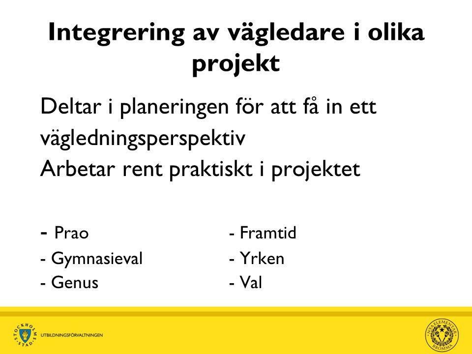 Integrering av vägledare i olika projekt Deltar i planeringen för att få in ett vägledningsperspektiv Arbetar rent praktiskt i projektet - Prao- Framtid - Gymnasieval- Yrken - Genus- Val