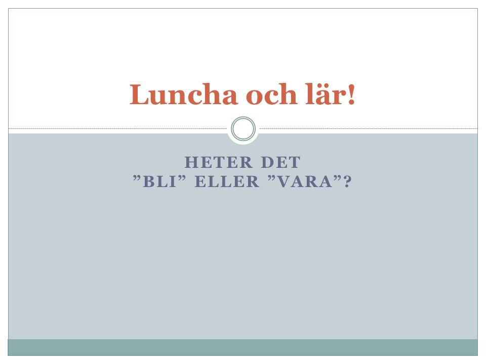 """HETER DET """"BLI"""" ELLER """"VARA""""? Luncha och lär!"""