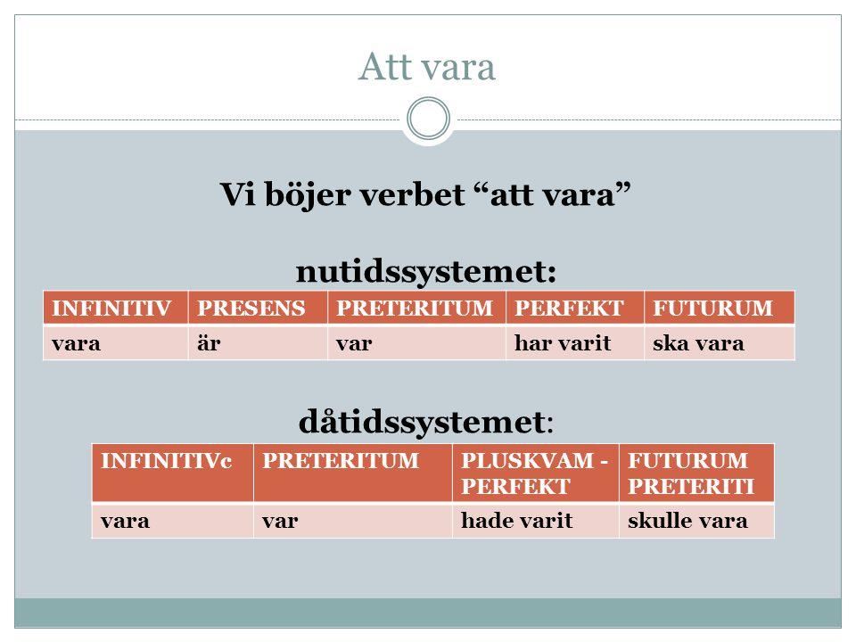 """Att vara Vi böjer verbet """"att vara"""" nutidssystemet: dåtidssystemet: INFINITIVPRESENSPRETERITUMPERFEKTFUTURUM varaärvarhar varitska vara INFINITIVcPRET"""