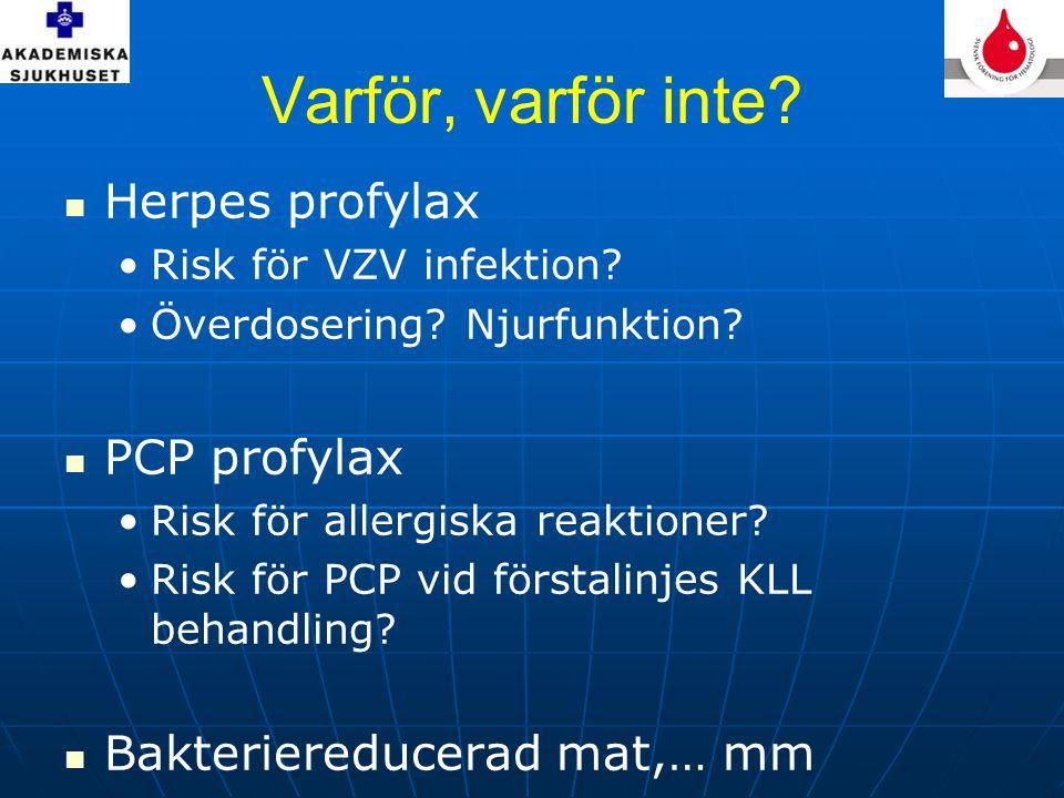 Varför, varför inte. Herpes profylax •Risk för VZV infektion.
