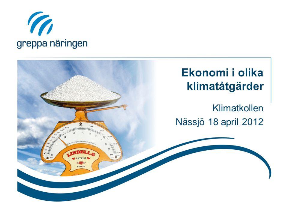 Ekonomi i olika klimatåtgärder Klimatkollen Nässjö 18 april 2012