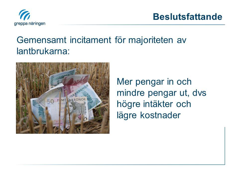 Gemensamt incitament för majoriteten av lantbrukarna: Mer pengar in och mindre pengar ut, dvs högre intäkter och lägre kostnader