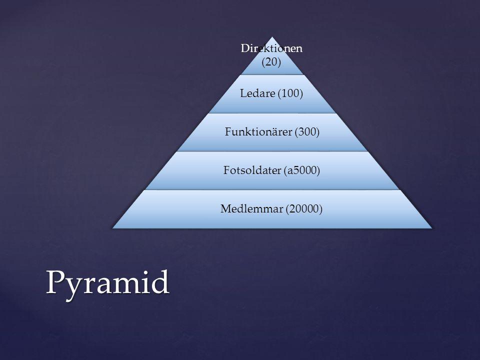 Direktionen (20) Ledare (100) Funktionärer (300) Fotsoldater (a5000) Medlemmar (20000)Pyramid