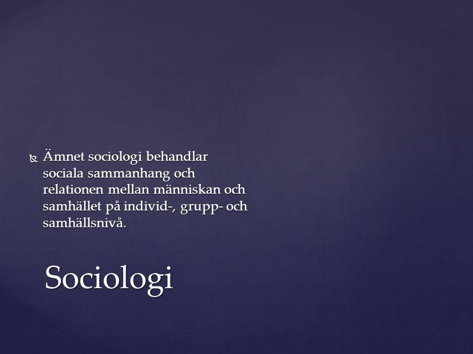  Ämnet sociologi behandlar sociala sammanhang och relationen mellan människan och samhället på individ-, grupp- och samhällsnivå. Sociologi