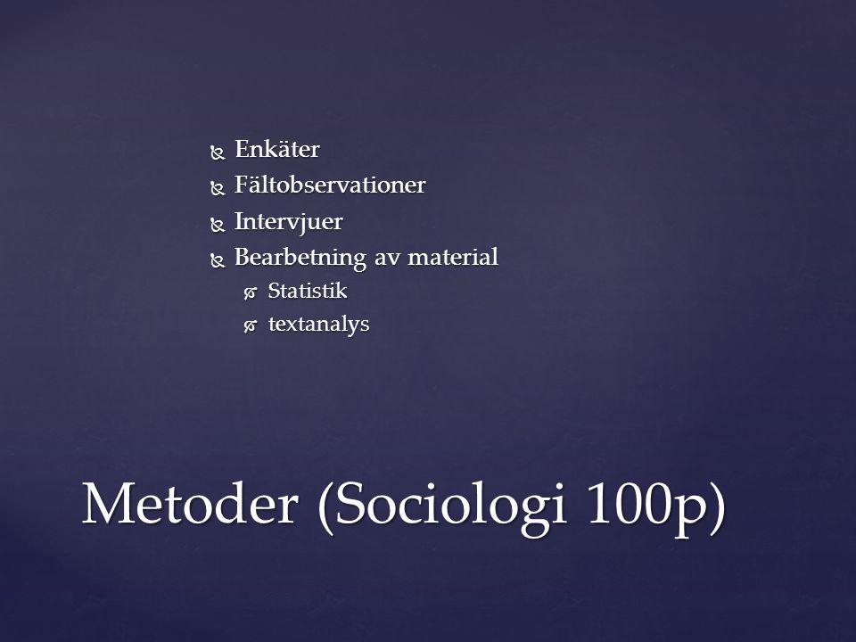  Enkäter  Fältobservationer  Intervjuer  Bearbetning av material  Statistik  textanalys Metoder (Sociologi 100p)