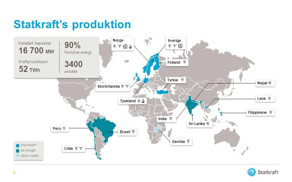 Statkraft's produktion 2 AGUA IMARA SN POWER STATKRAFT Peru Chile Norge Storbritannia Sverige Finland Tyrkia Brasil Zambia Tyskland India Sri Lanka Fi