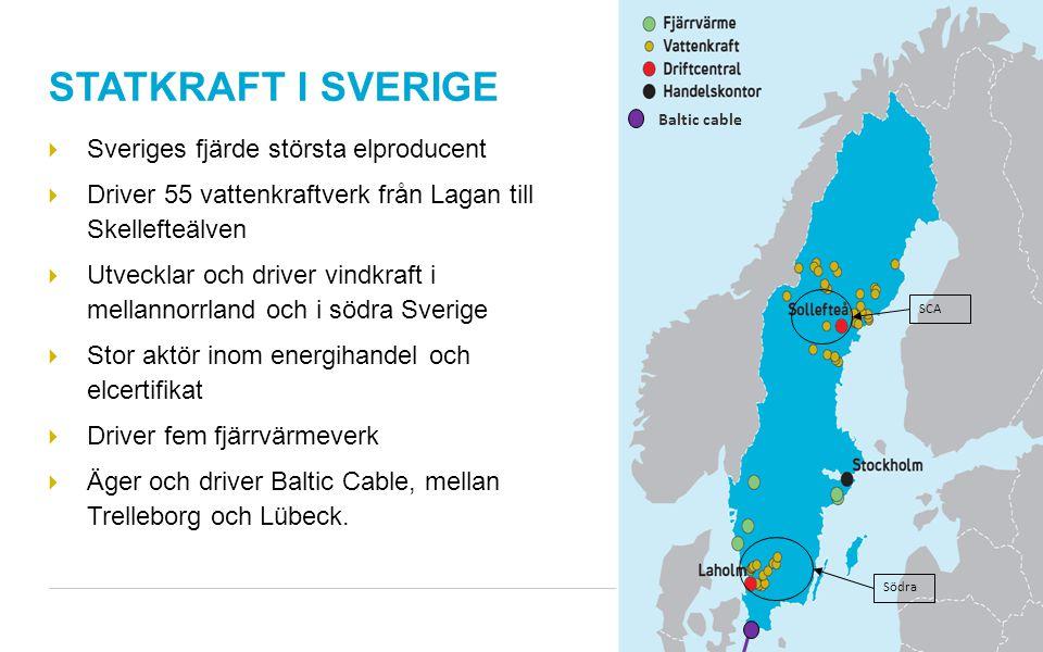 STATKRAFT I SVERIGE  Sveriges fjärde största elproducent  Driver 55 vattenkraftverk från Lagan till Skellefteälven  Utvecklar och driver vindkraft