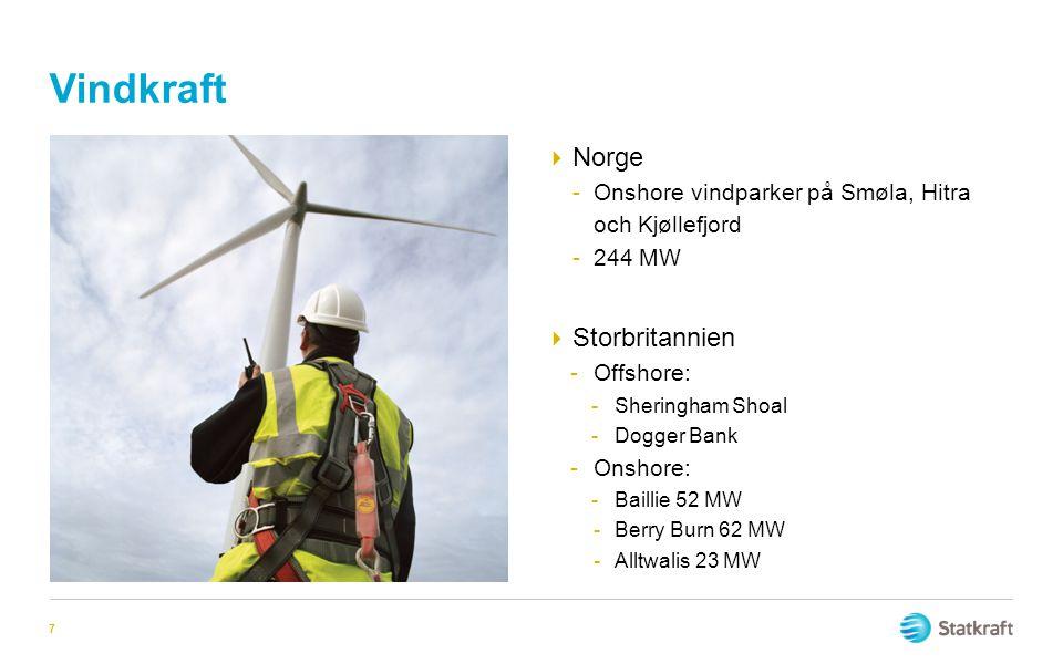 Vindkraft  Norge -Onshore vindparker på Smøla, Hitra och Kjøllefjord -244 MW  Storbritannien -Offshore: -Sheringham Shoal -Dogger Bank -Onshore: -Ba