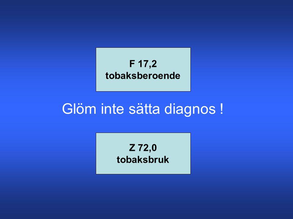 F 17,2 tobaksberoende Z 72,0 tobaksbruk Glöm inte sätta diagnos !