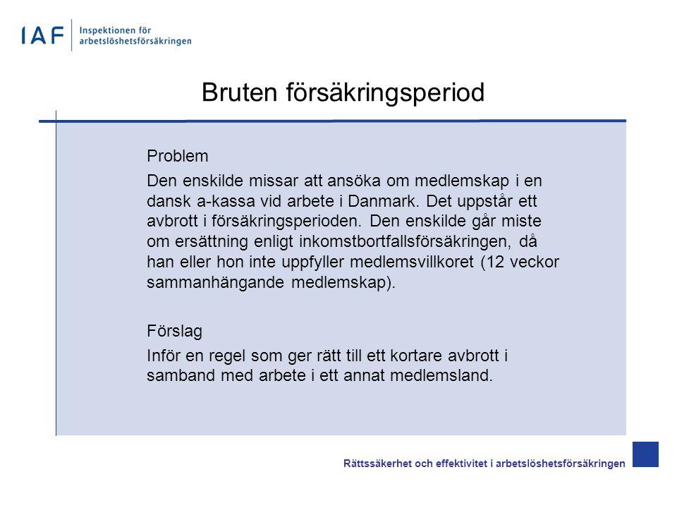 Bruten försäkringsperiod Problem Den enskilde missar att ansöka om medlemskap i en dansk a-kassa vid arbete i Danmark.