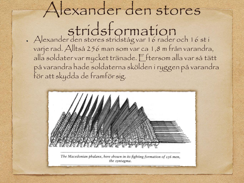 Alexander den stores stridsformation Alexander den stores stridståg var 16 rader och 16 st i varje rad. Alltså 256 man som var ca 1,8 m från varandra,